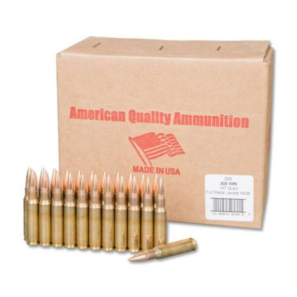 American Quality .308 Winchester Ammunition 500 Rounds FMJ 147 Grains N308147VP250